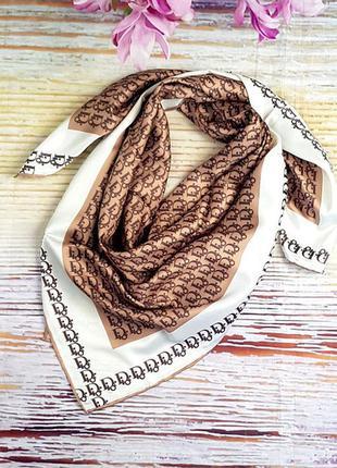 Платок модный женский на голову на шею шелк-твилл коричневый