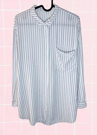 Белая полосатая длинная рубашка