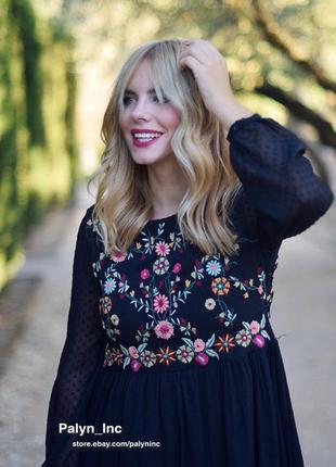 Шифоновое платье с вышивкой плюмети цветочный принт