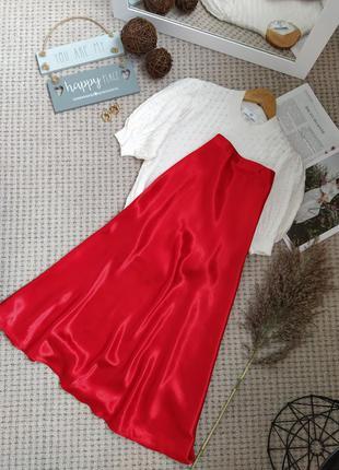 Роскошная красная атласная юбка h&m