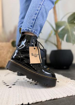 🍂 демисезонные женские ботинки dr martens jadon black lacquered (без меха/без замка!)