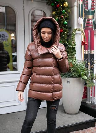 Куртка модная зимняя женская длинный пуховик с эко кожи wear me