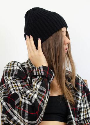 Новые актуальные бини шапки на высокий отворот с добавлением шерсти, черная шапка