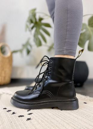 🍂 демисезонные женские ботинки dr martens 1460 mono black (без меха/без замка!)