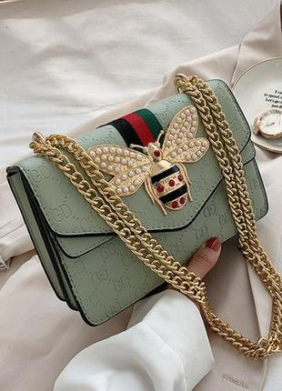 Женская мини сумочка клатч на цепочке с пчелой, маленькая женская сумка через плечо пчела, сумка-клатч модная и стильная