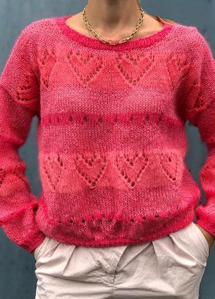 Свитер оверсайз сердечки коралл розовый фуксия светр тренд эксклюзивный дизайнерский
