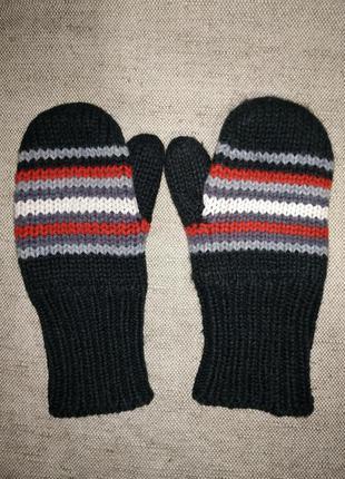 Варежки рукавички двойные на флисе. акрил.