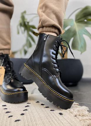 🍂 демисезонные женские ботинки dr martens jadon black zip (без меха/ с замком!)