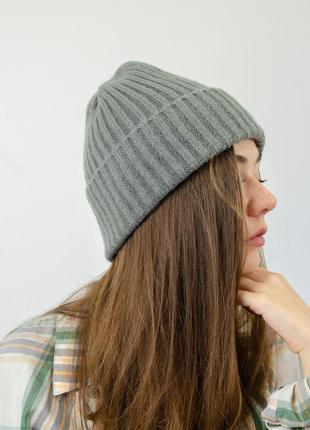 Новые актуальные бини шапки на высокий отворот с добавлением шерсти, темно серая шапка