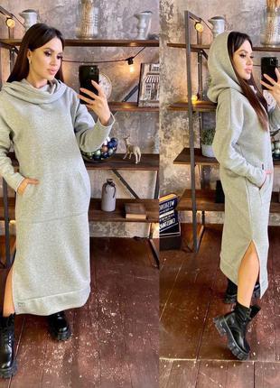 Теплое платье с начесом и капюшоном мод. вдк