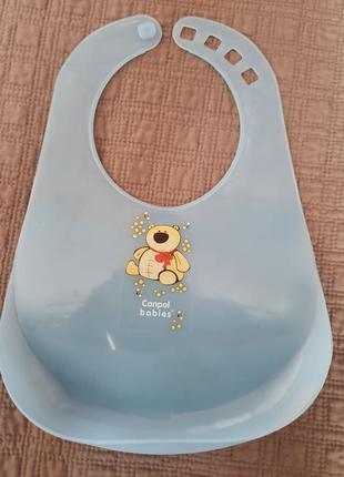 Слюнявчик пластиковый с карманом canpol babies