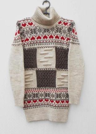 Теплый вязаный шерстяной  свитер под горло водолазка