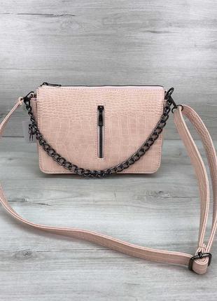 Пудровая сумка кросс боди пудровый клатч на цепочке сумка через плечо кроссбоди пудровый крокодил