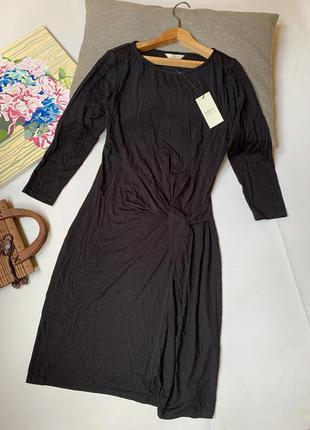Платье чёрное papaya офисное вискоза натуральная ткань