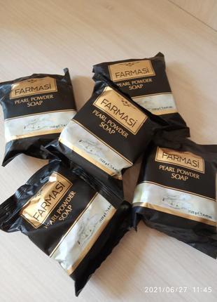 5 штук одним лотом натуральне мило з перлинами, farmasi, 125 г