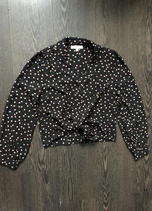 Блуза рубашка в горошек на пуговицах oasis