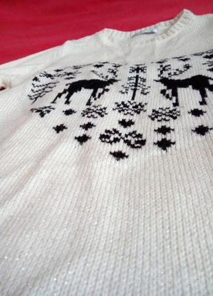 Шикарний новорічний светрик з оленями/ свитер с оленями
