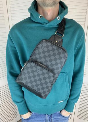 Мужской слинг, качественный из pu кожи, серая стильная сумка через плечо, удобная вместительная