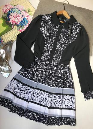 Платье в горох love label чёрное осеннее офисное