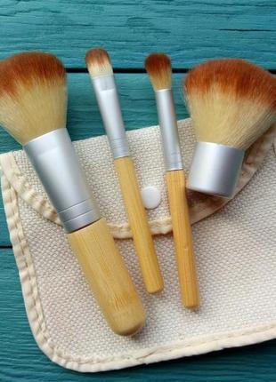 Набор кистей для макияжа 4 с бамбуковыми ручками