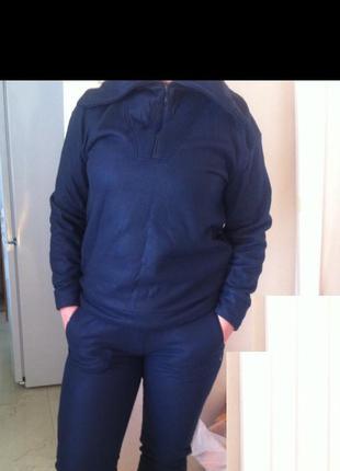 Стильный легкий и теплый синий флисовый прогулочный спортивный костюм hays турция м 46-48