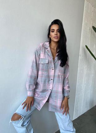 Кашемировая рубашка - пальто в клетку