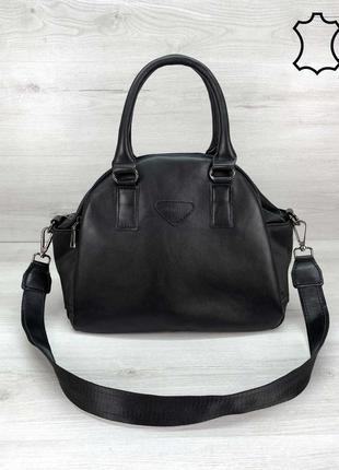 Женская сумка среднего размера черная сумка жіноча сумка чорна сумка