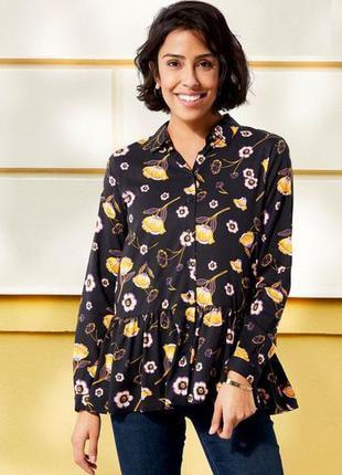 Свободная блуза, рубашка в цветочный принт, 3xl 46 euro, esmara, германия