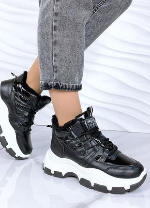 Зимние ботинки высокие кроссовки на массивной подошве с плащевкой. распродажа
