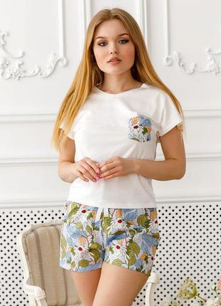 Хлопковая пижама футболка с шортами, піжама, комплект для дома