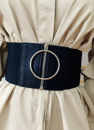 Широкий корсет, ремень, пояс резинка на молнии с большим кольцом