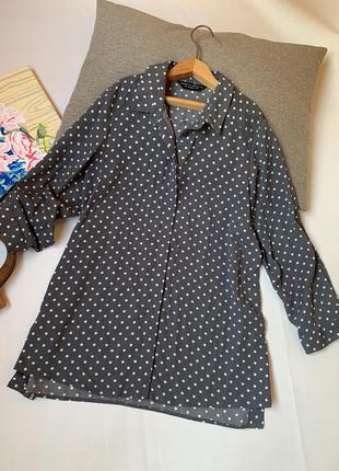 Блуза dorothy perkins серая в горох офисная осенняя