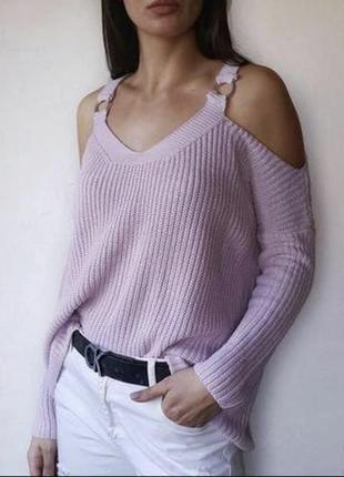 Пудровый пуловер с открытыми плечами, реглан джемпер свитшот свитер