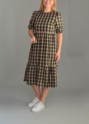 5339\78 платье в бежевую клетку primark m