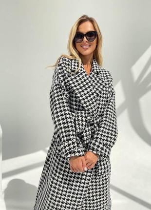 Шерстяное пальто гусиная лапка, женское пальто