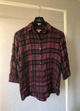 Рубашка блуза на пуговках в фирменную клетку с рукавом 3/4 burberry brit