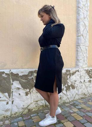 Чёрное трикотажное платье рубчик с ремнем
