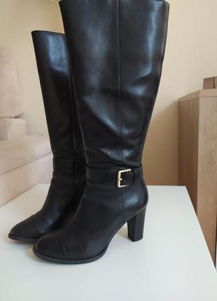 Чорні шкіряні чоботи clarks демісезон 37 р.