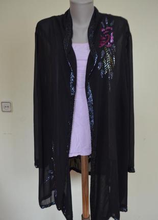 Очень красивый нарядный жакет-кардиган вышивка бисером паетками очень большого 30 размера
