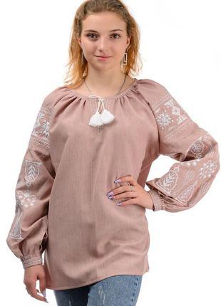 Женская рубаха,блуза вышиванка в этническом стиле оверсайз