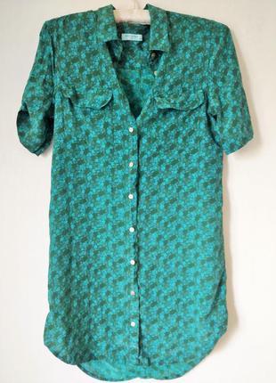 Шелковая рубашка туника в цветы  зеленая голубая equipment