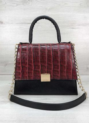 Бордовая сумка бордовый клатч на цепочке сумка красный крокодил сумка с короткой ручкой