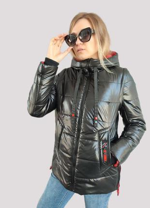 Женская демисезонная куртка-транcформер в жилет lora черный с красным