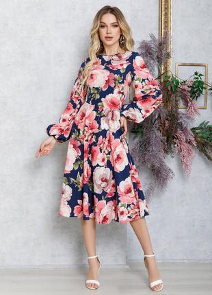 Цветочное приталенное платье миди демисезон деловое рукава-фонарики