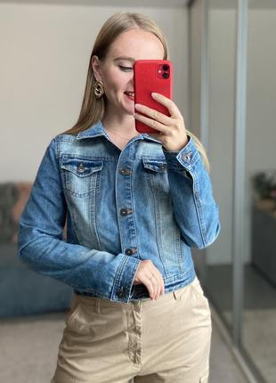 Базовая укороченная джинсовая куртка №9