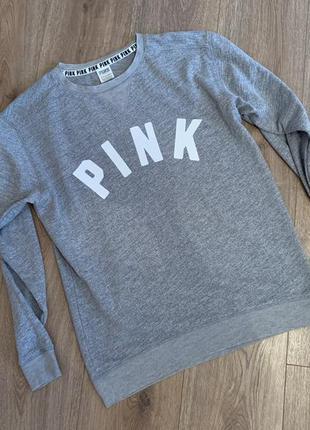 Серый свитшот, свитер pink , victoria's secret, р.хс