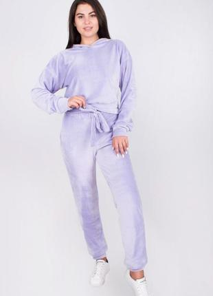 Женский спортивный велюровый костюм цвет лиловый 42,44,46, 48