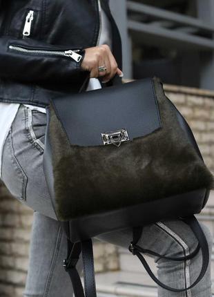 Черный меховой рюкзак молодежная модная сумочка трансформер сумка с оливковым мехом