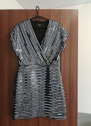 Люксовое коктельное платье в пайетках,lipsy asos размер l