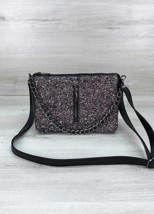 Черная сумка кросс боди черный клатч на цепочке сумка через плечо кроссбоди блестящий клатч
